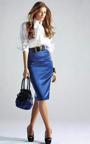 White Blouse Blue Satin Pencil Skirt Sheer Pantyhose Black Belt and Black High Heels.jpg