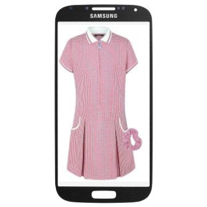 Girls Pink Gingham dress on mobile phone screen